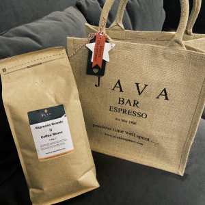 Java Coffee Beans, 1KG & Classic Java Bar Espresso Jute Bag